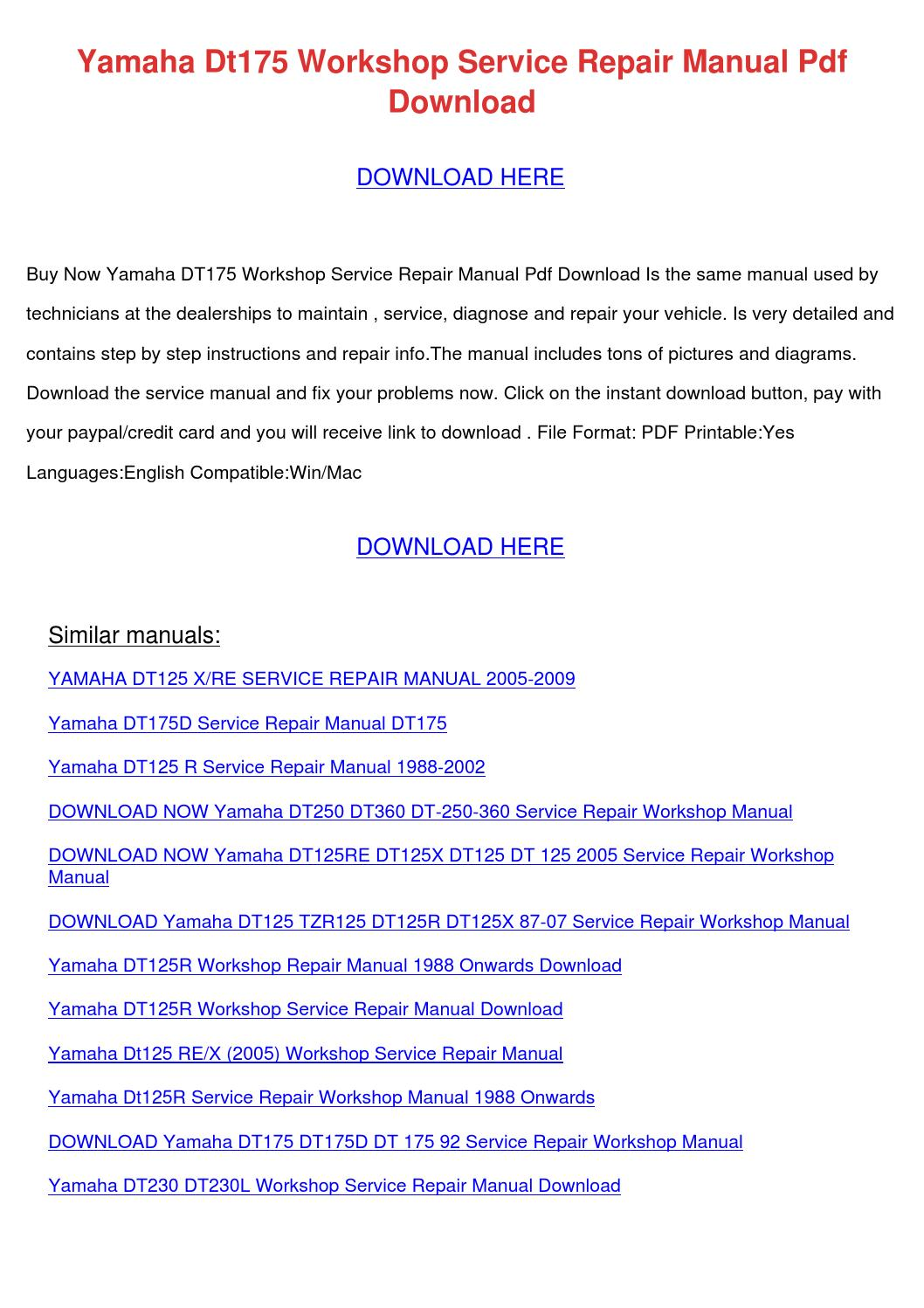 Yamaha Dt175 Workshop Service Repair Manual P By