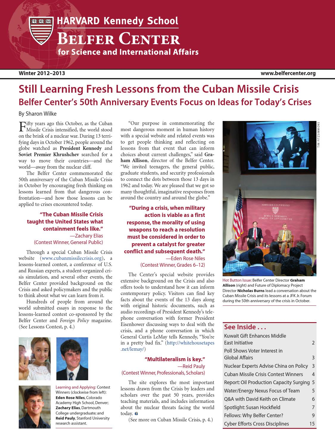 Fall 2012 – Winter 2013 Newsletter by Belfer Center for Science and ... 7f657bf91d