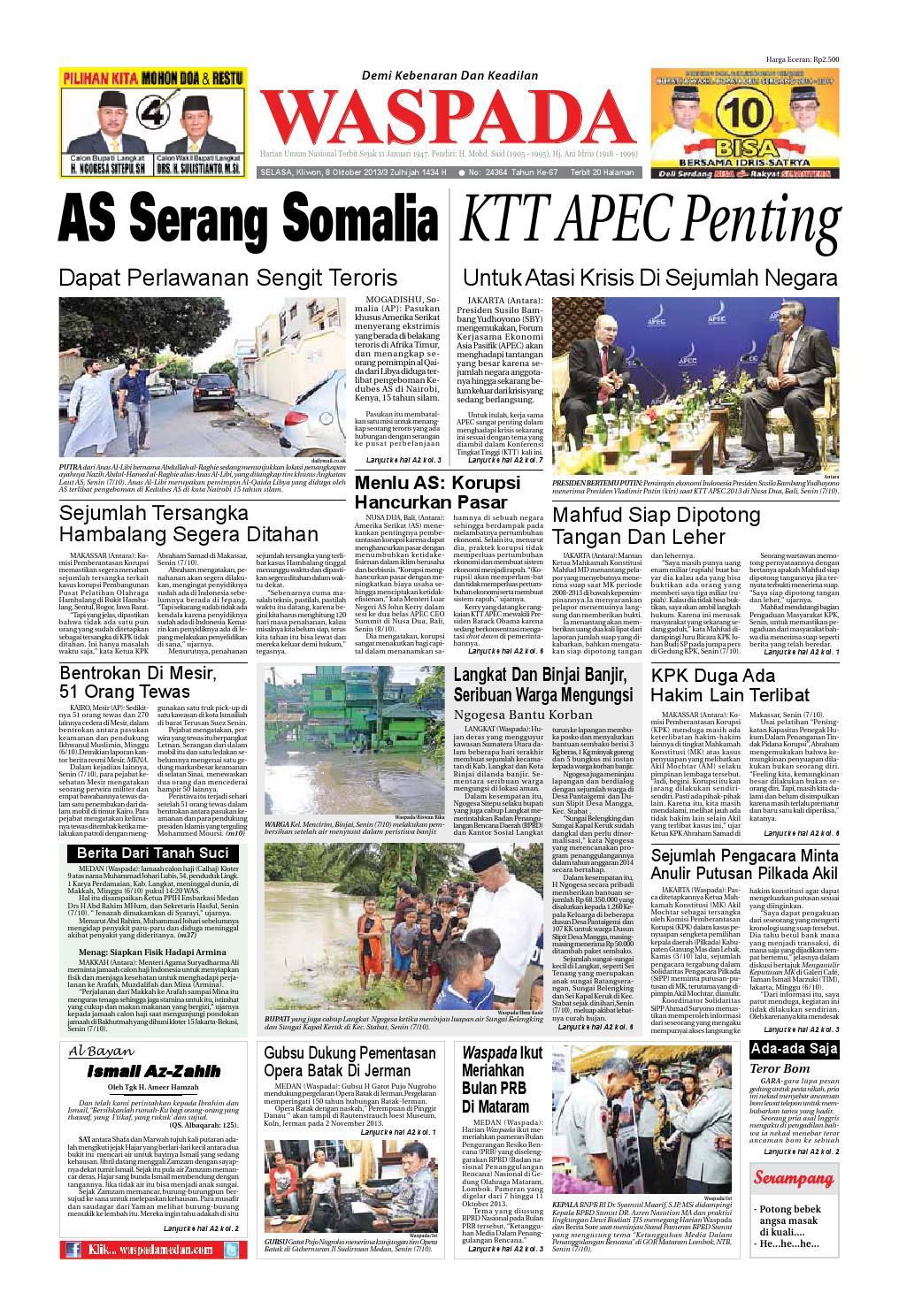 Waspadaselasa 8 Oktober 2013 By Harian Waspada Issuu Kopibubuk Robusta Toko Rezeki Akumandiri Malang