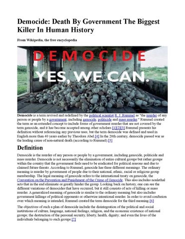 Democide: Death By Government The Biggest Killer In Human