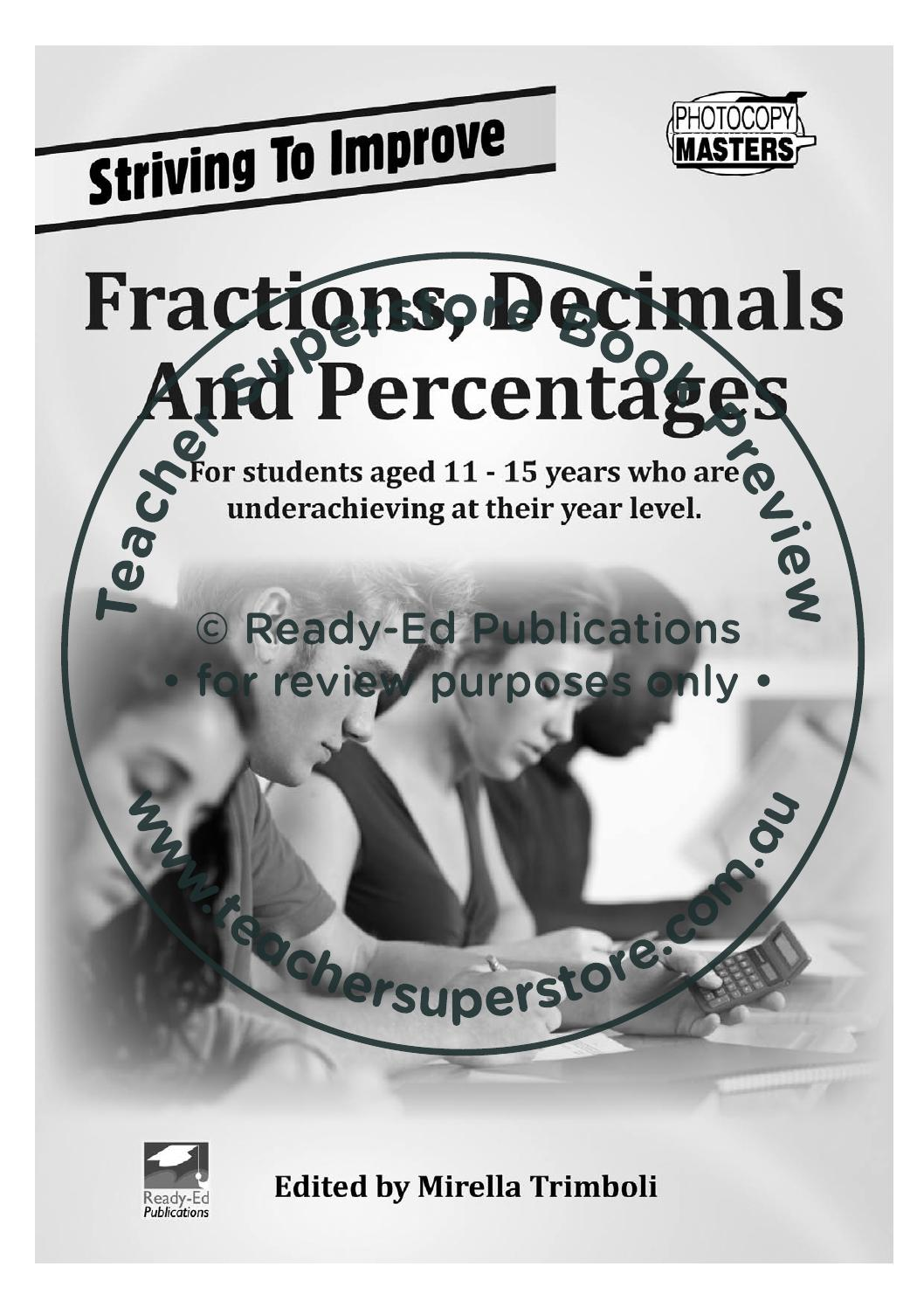 Striving to improve mathematics fractions decimals striving to improve mathematics fractions decimals percentages by teacher superstore issuu biocorpaavc Choice Image