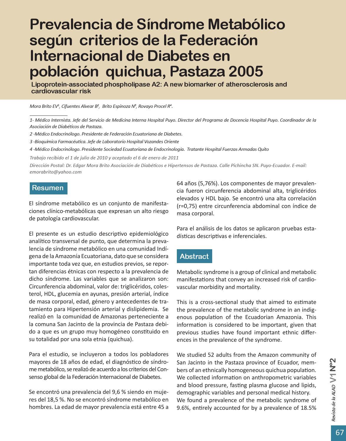 federación internacional del síndrome metabólico de la diabetes