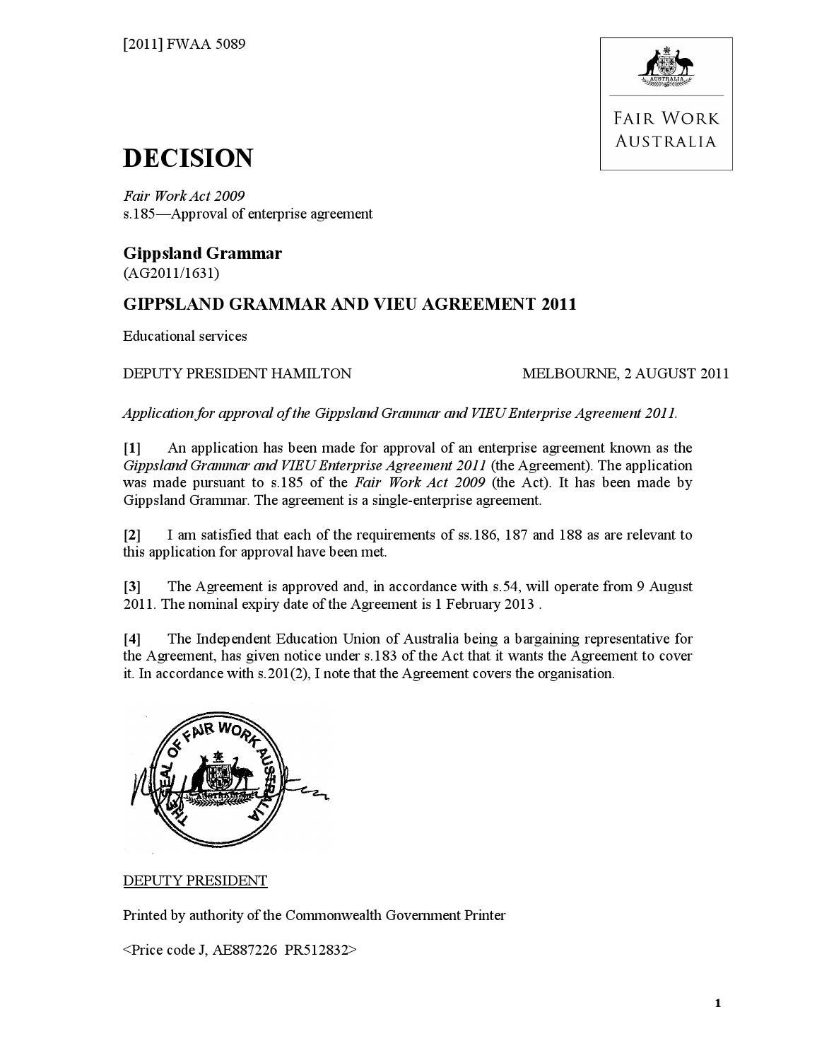 Gippsland Grammar Agreement 2011 By Ieu Vic Tas Issuu