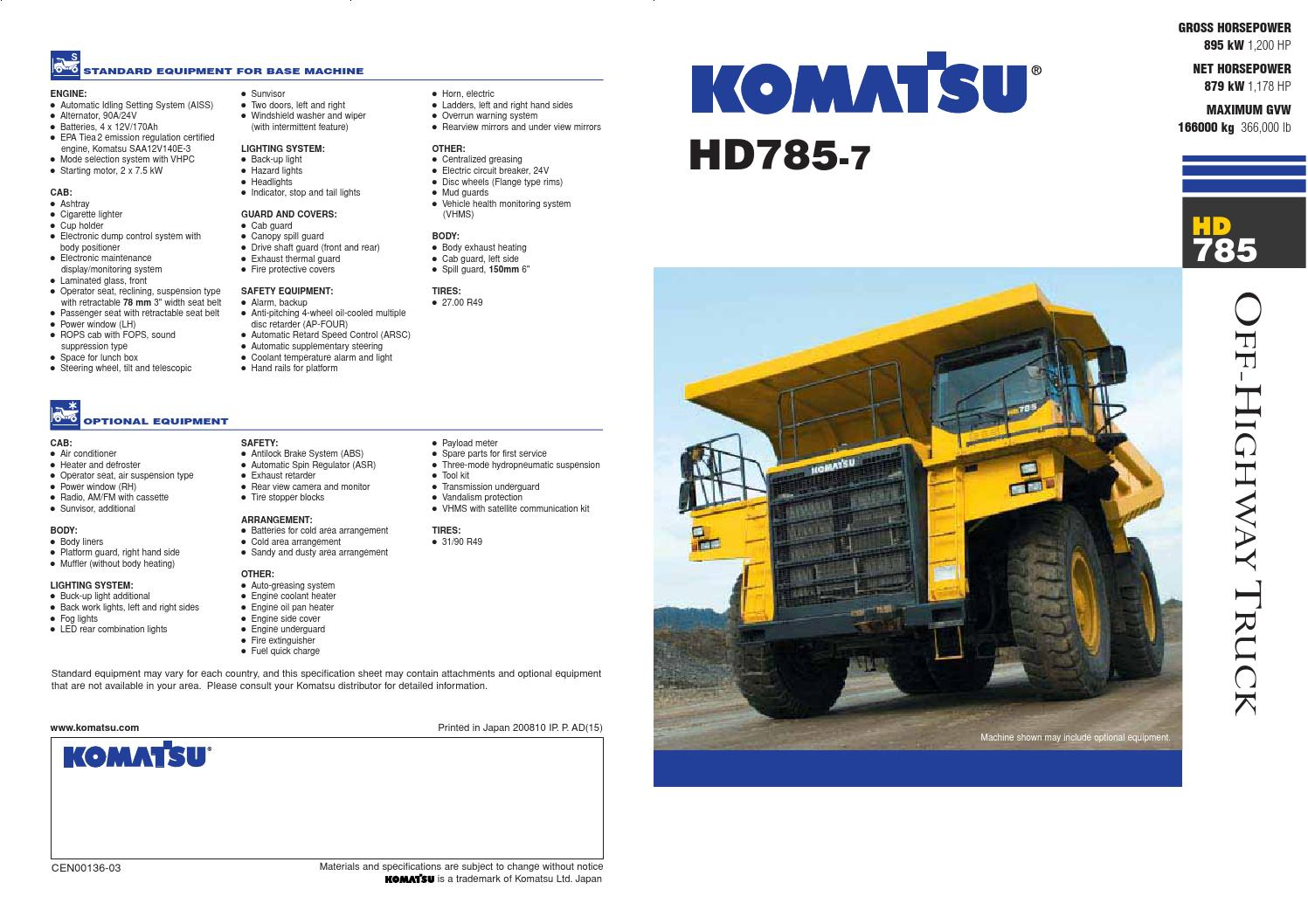 HD785 - Rigid Dump Truck by Komatsu India - issuu