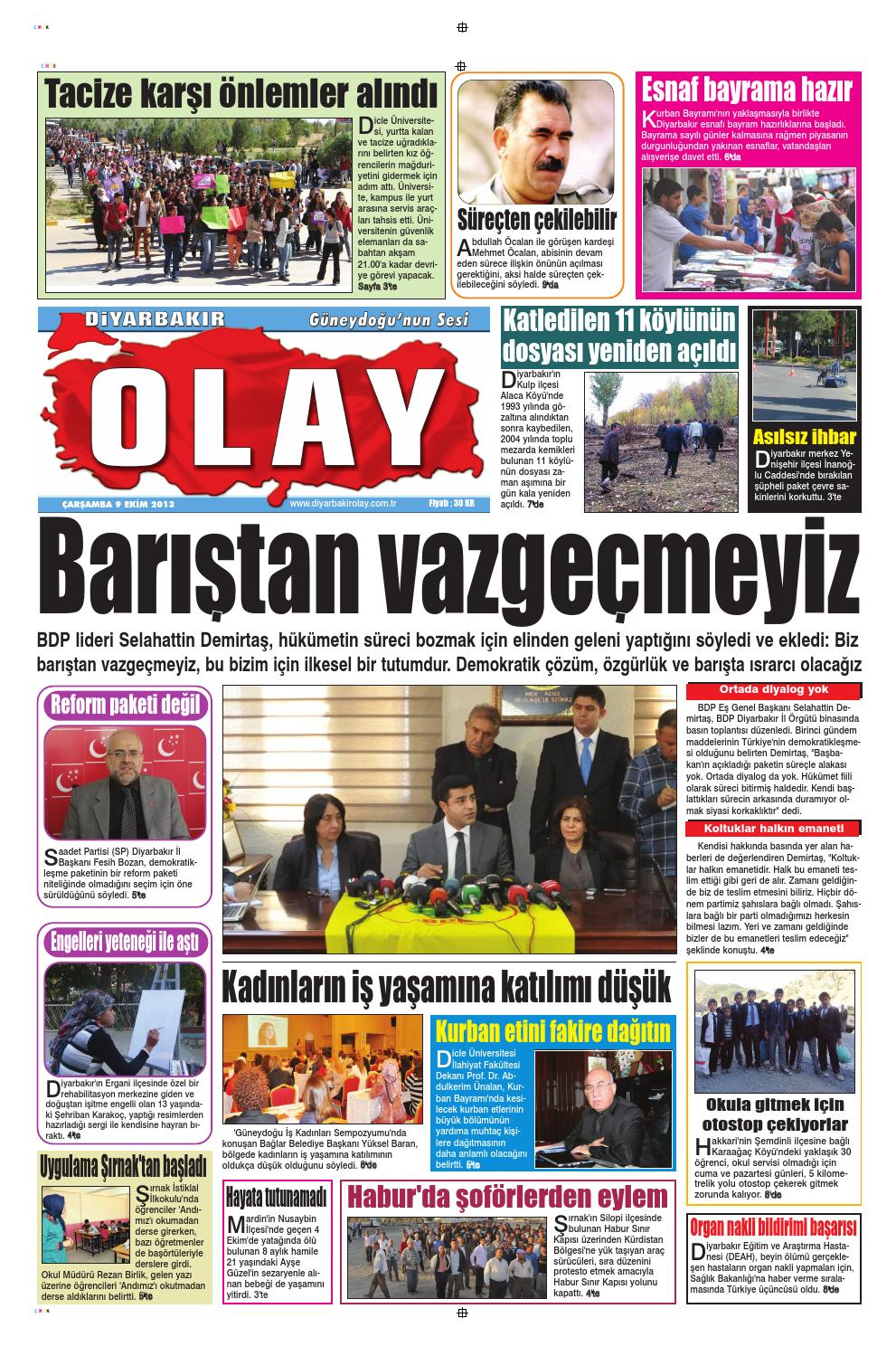 09 10 2013 Gazete Sayfalari By Diyarbakir Olaygazetesi Issuu