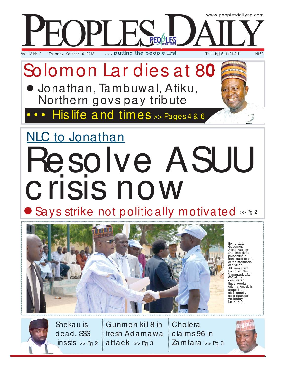 Peoples Daily Newspaper, Thursday 10, October, 2013 by Peoples Media
