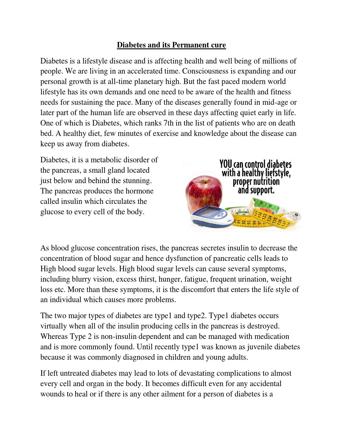 Diabetes And Its Permanent Cure By Onlinehomeocare Issuu