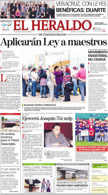 El Heraldo De Coatzacoalcos 10 De Octubre De 2013 By El Heraldo De  # Vacantes Muebles Dico Guadalajara