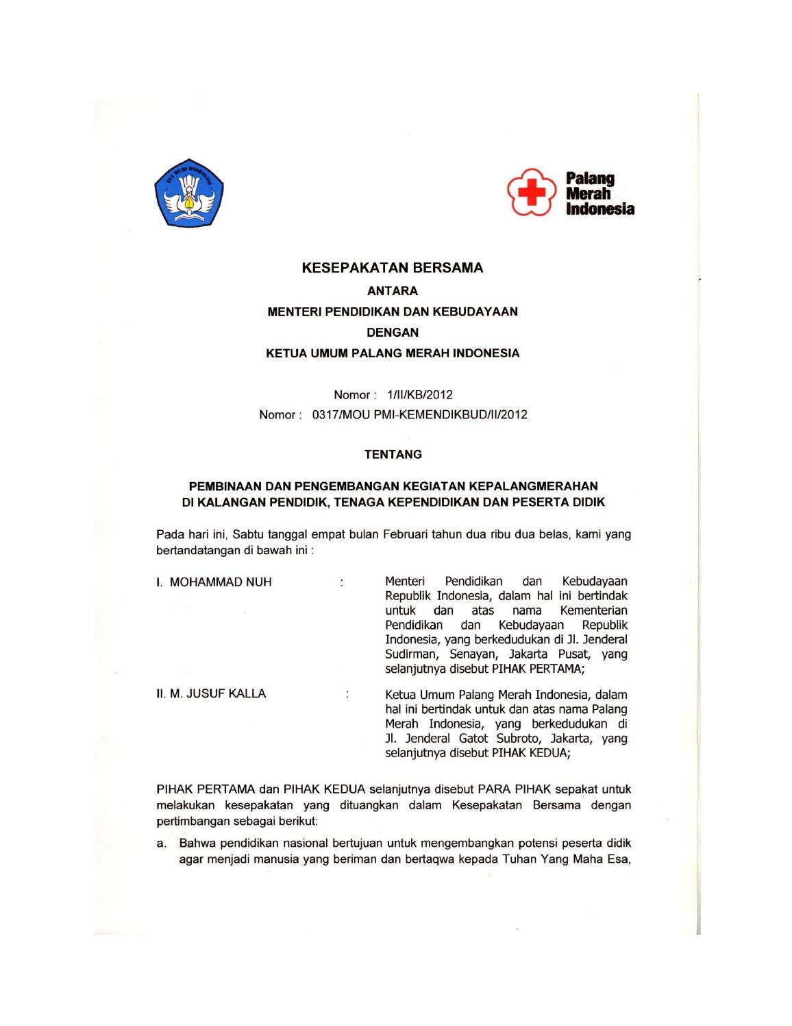 Mou Pmi Kemendikbud 2012 By Palang Merah Indonesia Issuu