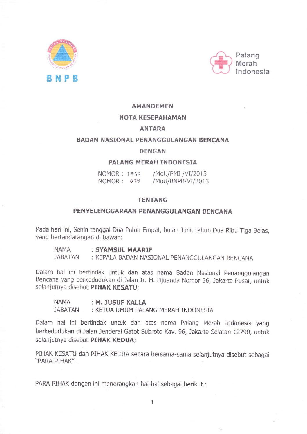 Mou Pmi Bnpb By Palang Merah Indonesia Issuu