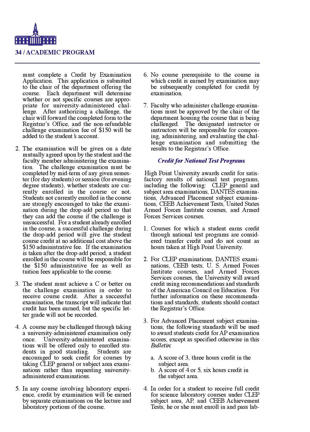 High Point University Undergraduate Bulletin 2008-2009 by High Point