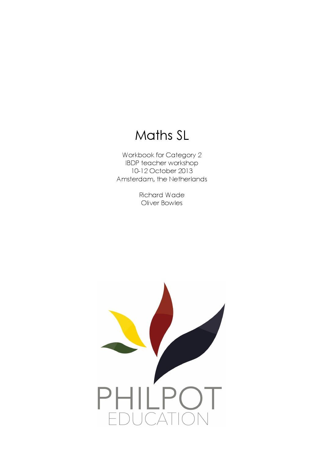 IBDP Maths SL Cat 2 Workbook By Brad Philpot Issuu