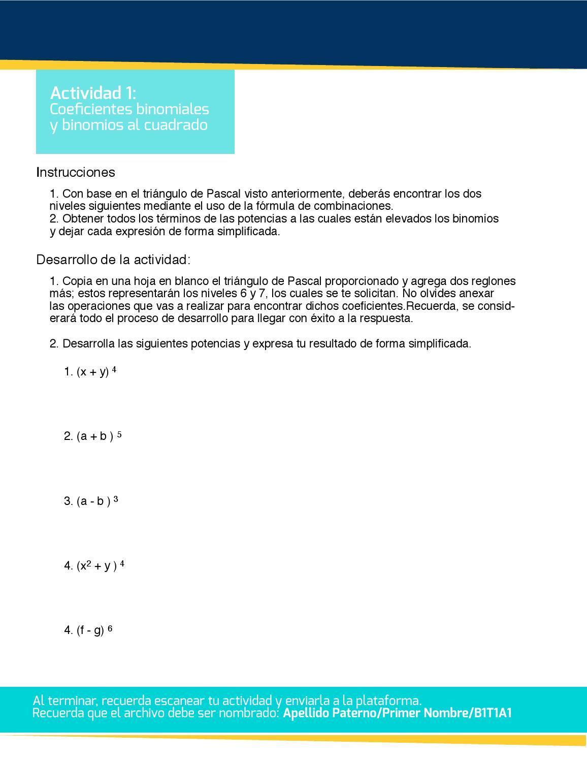 Coeficientes binomiales by Multimedia - issuu