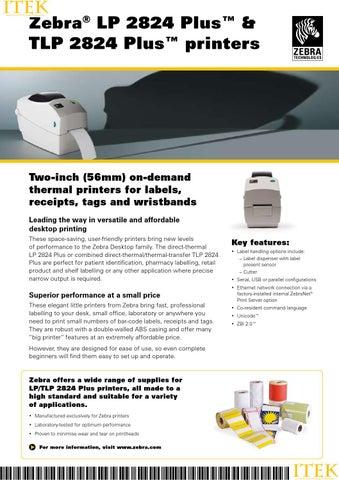 Zebra® LP 2824 Plus™ & TLP 2824 Plus™ printers