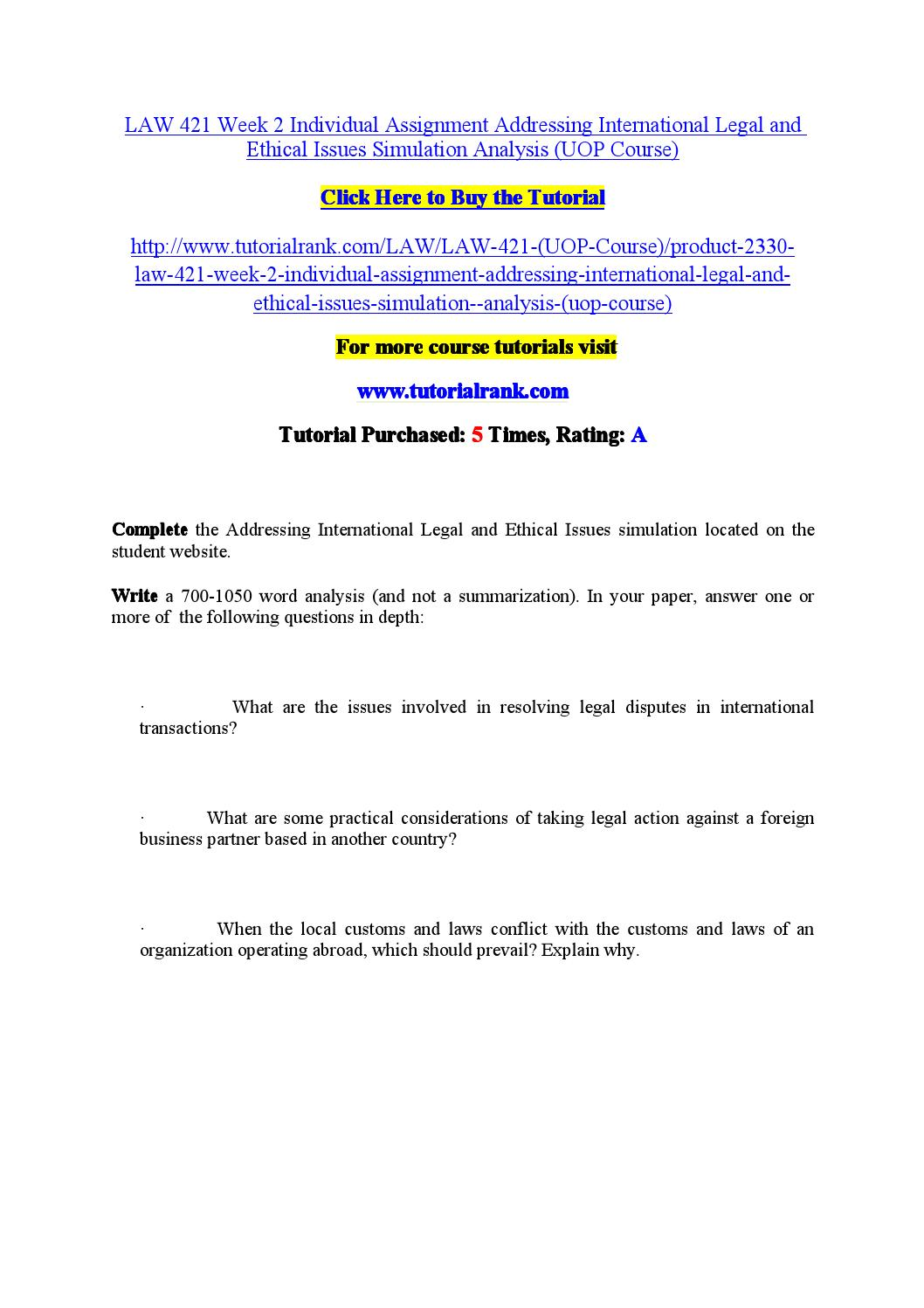 uop law 421 week 4 individual Law 421 week 4 individual: cold case trucking assignment question 3 posted by octotutor business law , essays , premium , textbook solutions , the legal environment of business 1st.