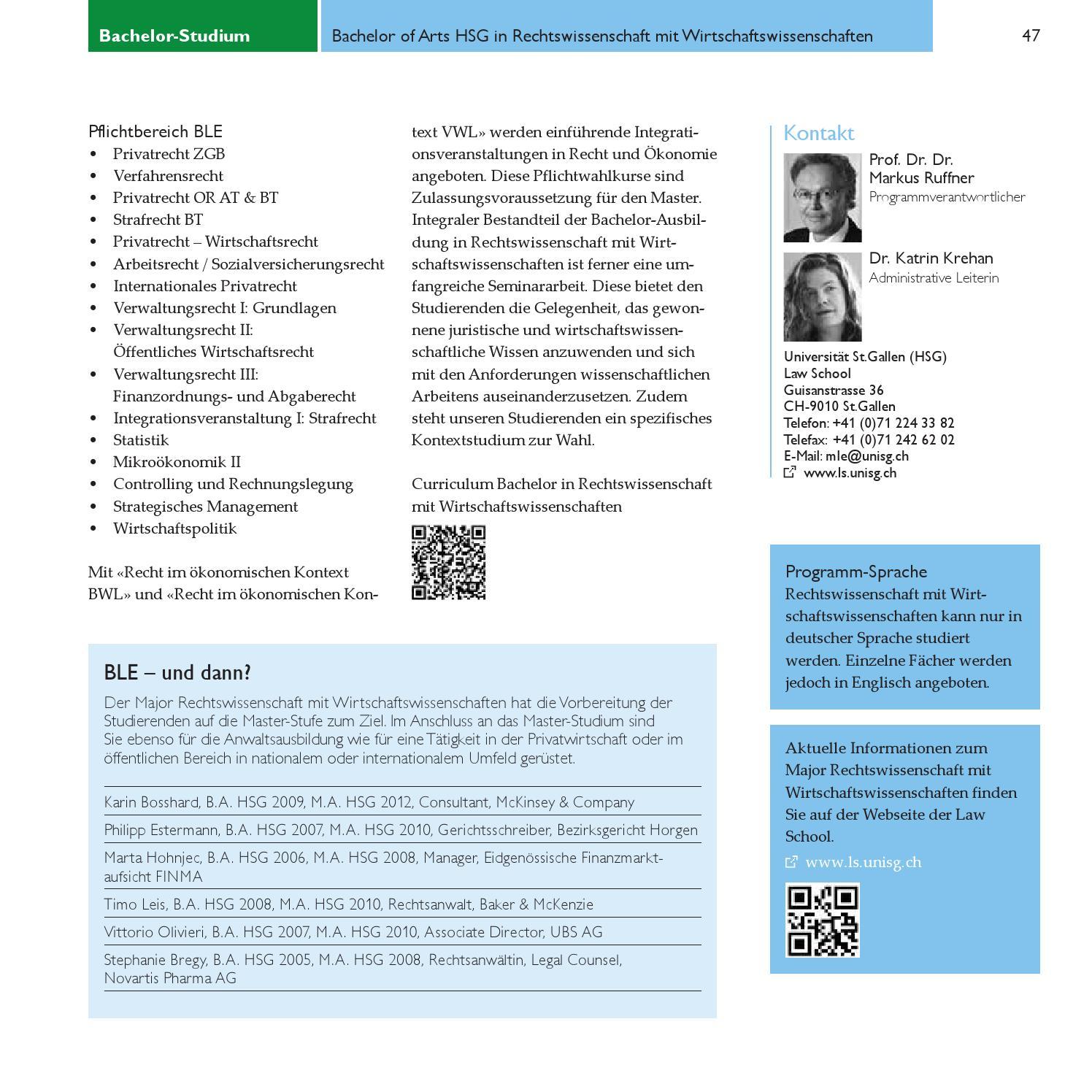 Bachelor-Studium / Undergraduate Studies by Universität St.Gallen ...