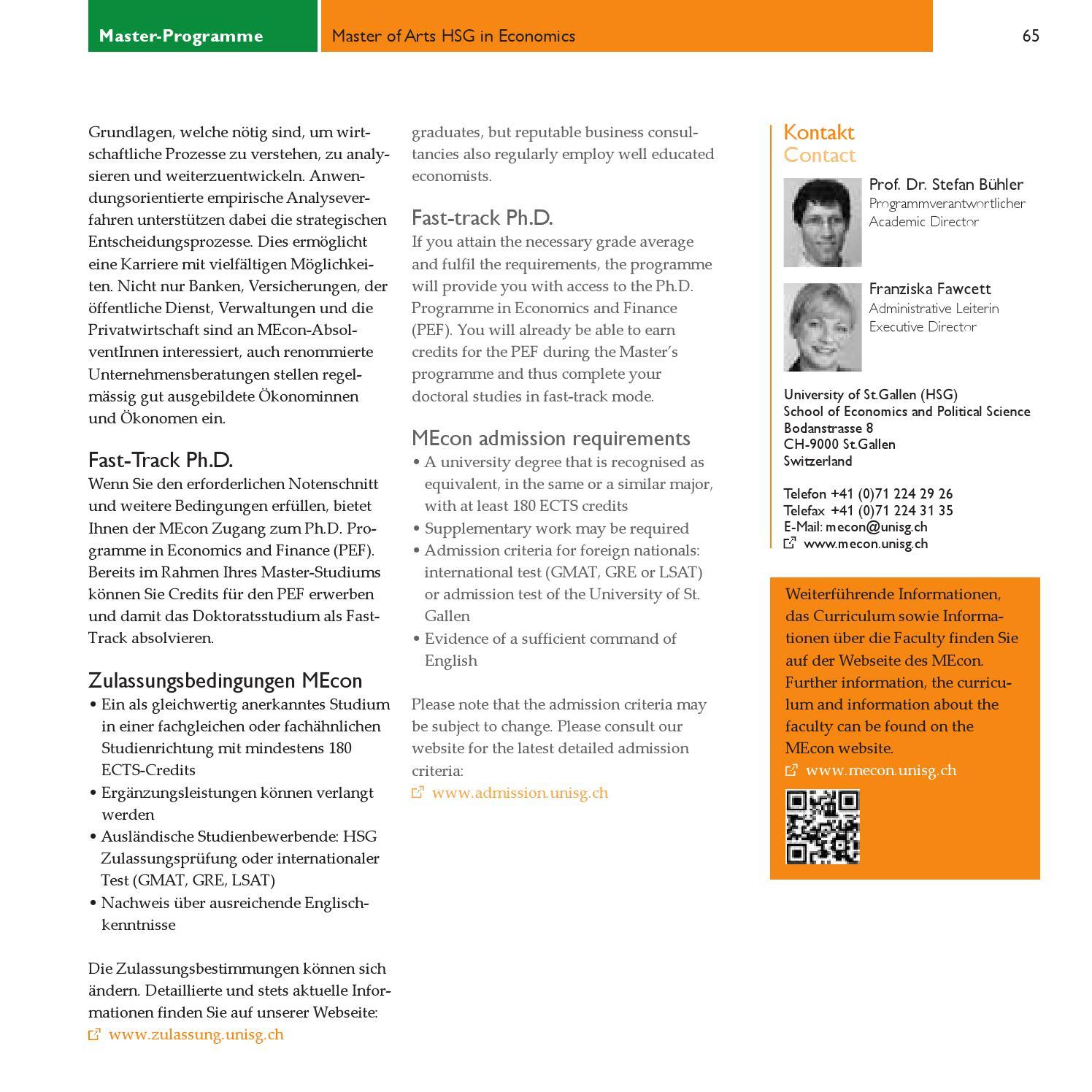 Master Programme / Graduate Studies by Universität St Gallen