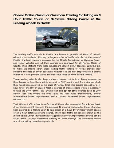 Taking An 8 Hour Traffic Course Or Defensive Driving Course At The