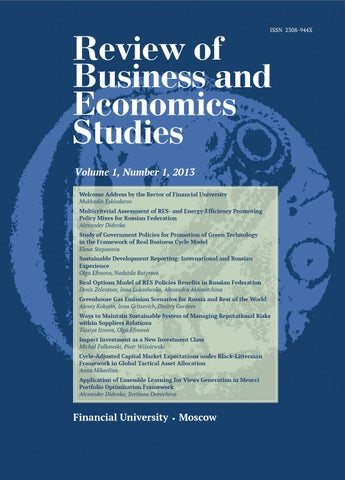 7d16ee63918b9d Review of Business and Economics Studies, Vol. 1, Number 1, 2013 by ...