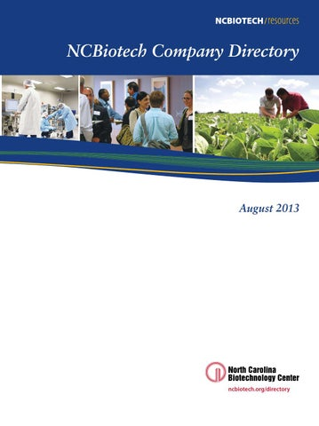 NC Biotech Company Directory 2013 by Meredith College
