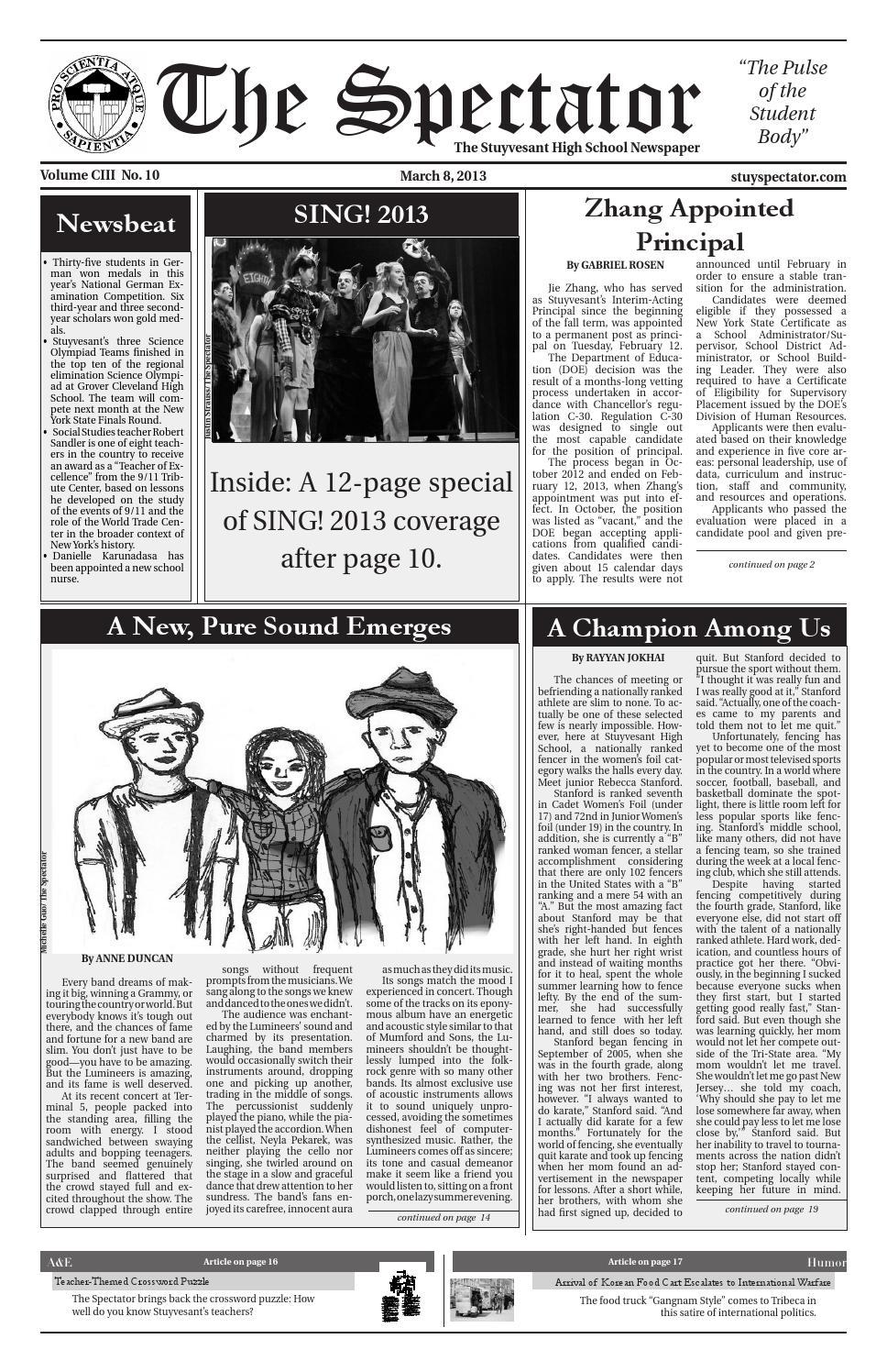 Volume 103, Issue 10 by The Stuyvesant Spectator issuu