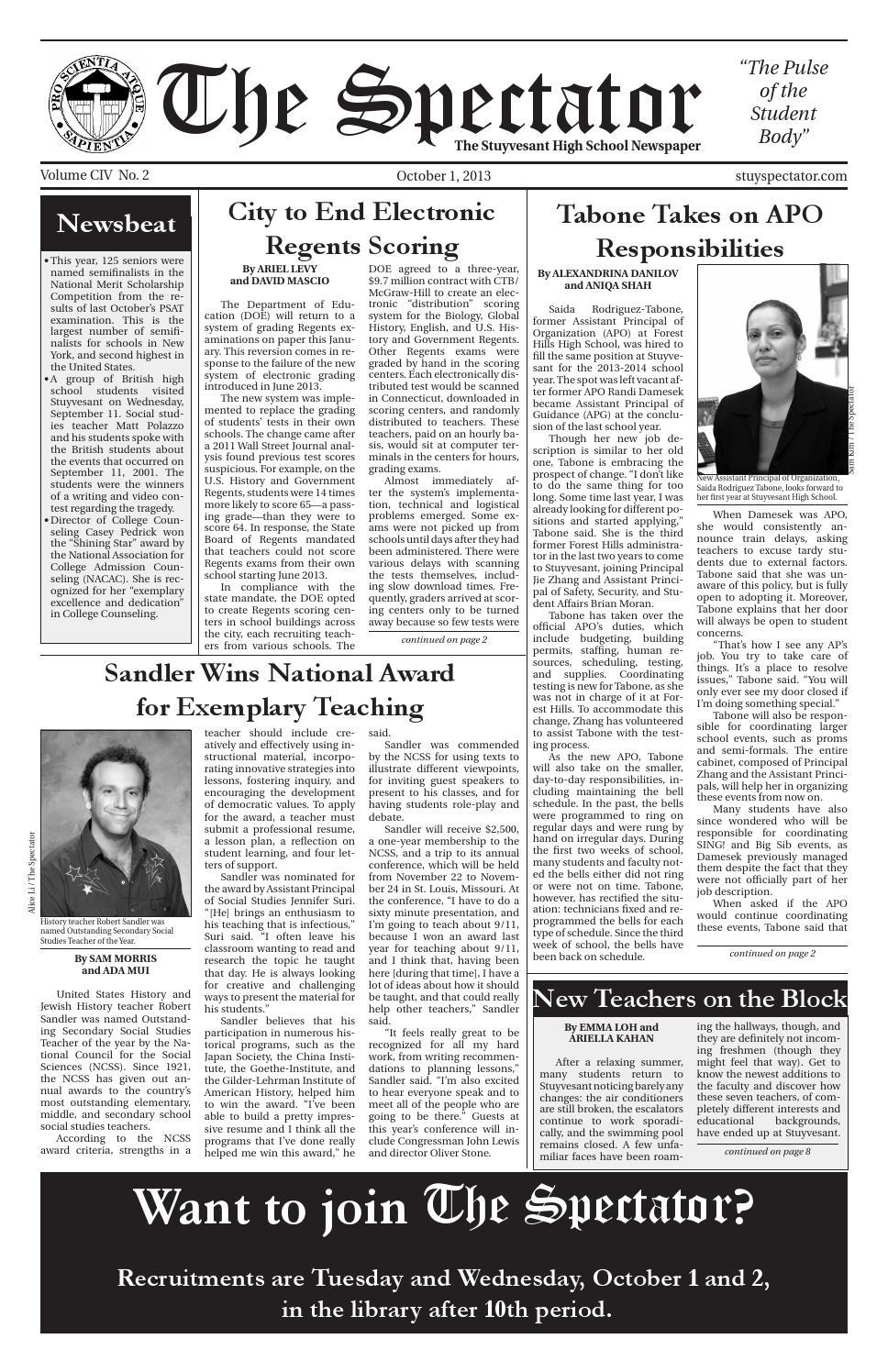 Volume 104, Issue 2 by The Stuyvesant Spectator issuu