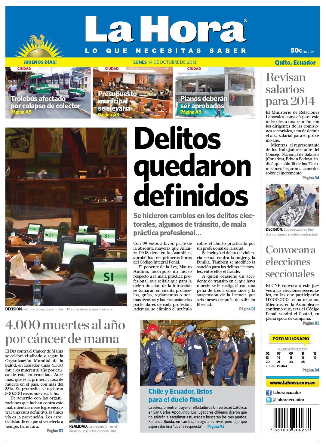 La Hora Quito 14 octubre 2013 by Diario La Hora Ecuador - issuu 6a8c7d3de3d