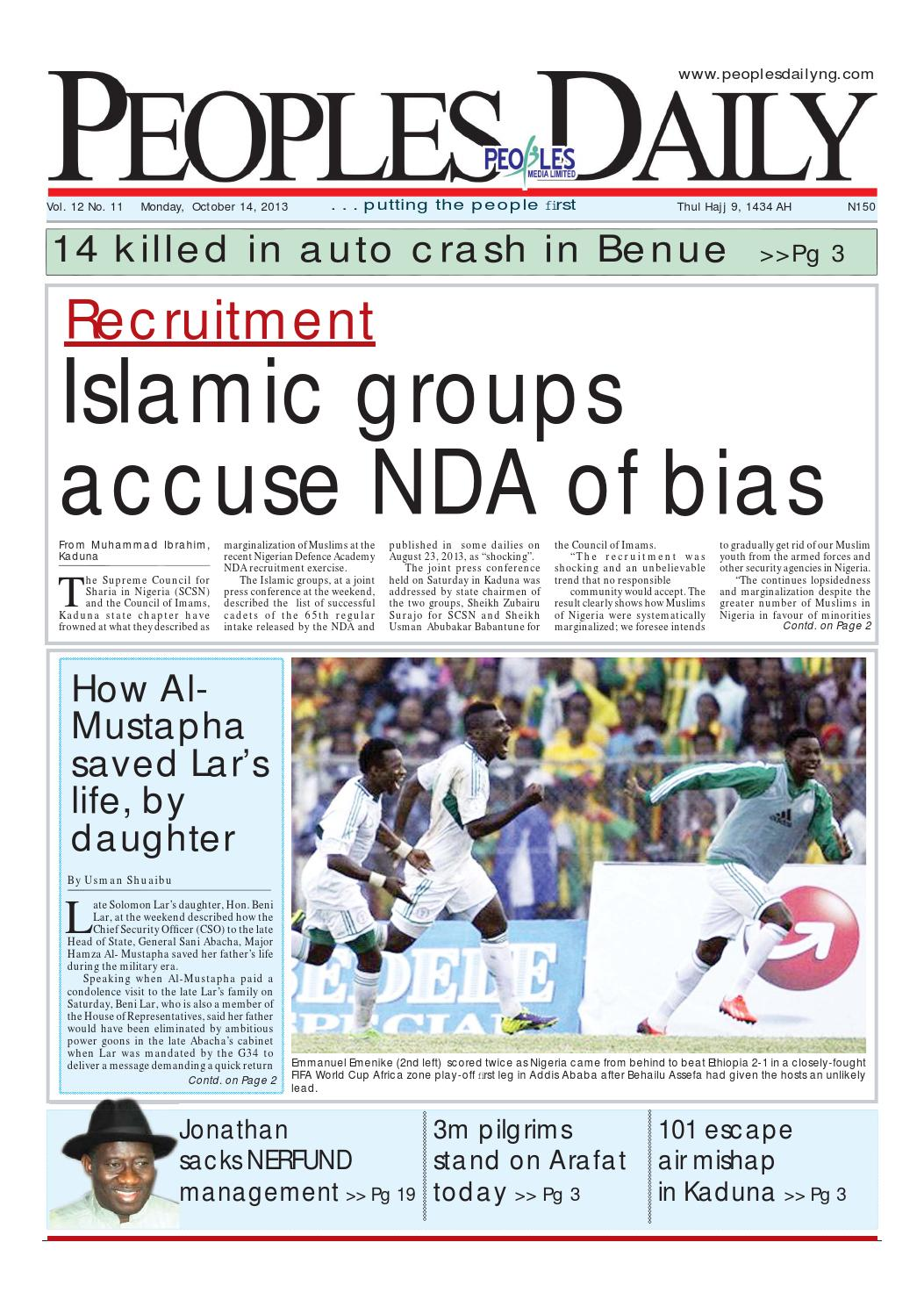 Peoples Daily Newspaper, Monday 14, October, 2013