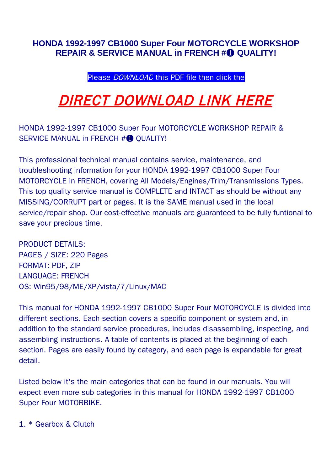 Honda 1992 1997 cb1000 super four motorcycle workshop repair & service  manual in french #➀ quality! by Newton Below - issuu