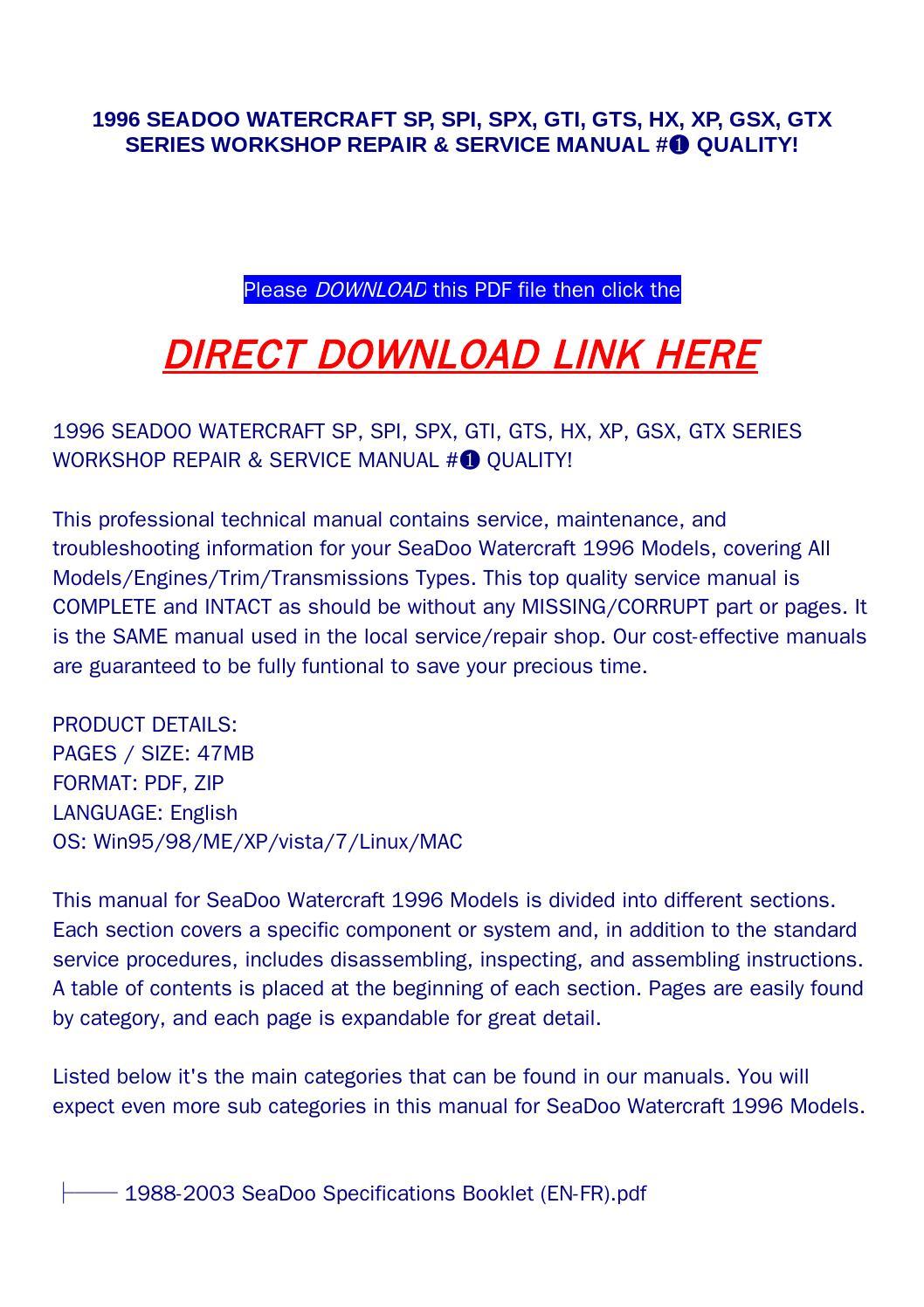 pay for sea doo xp hx 1996 service repair manual download Array - seadoo hx repair  manual ebook rh seadoo hx repair manual ebook spirulinas de