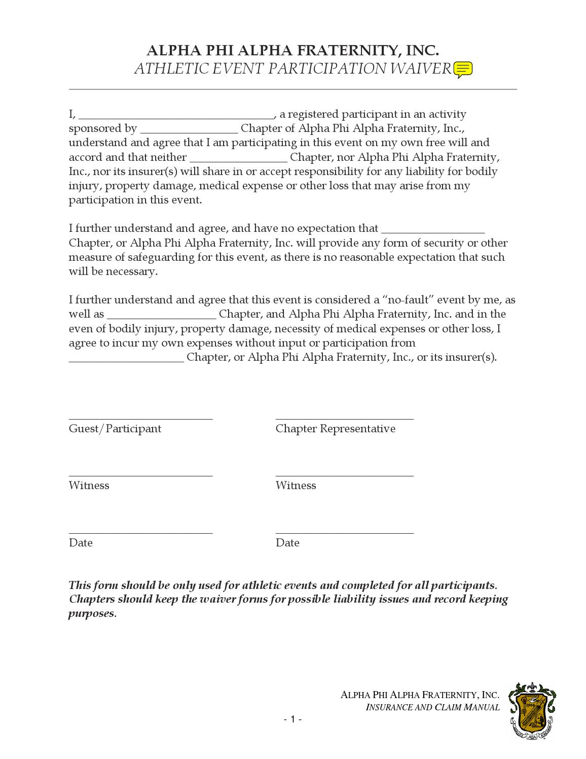 Athletic participation waiver by alpha phi alpha for Participation waiver template