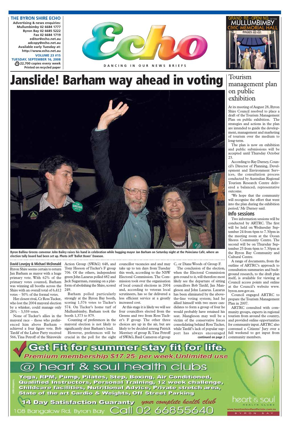 d0147cf42c885 Byron Shire Echo – Issue 23.15 – 17 09 2008 by Echo Publications - issuu