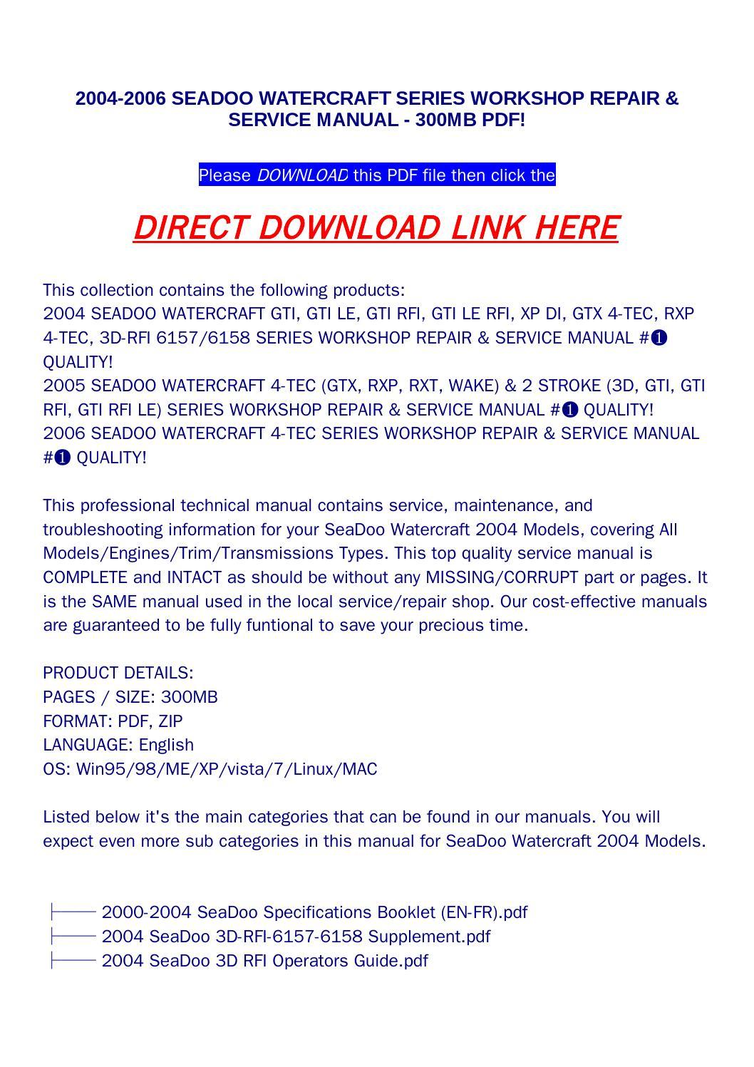2004 2006 seadoo watercraft series workshop repair & service manual 300mb  pdf! by disrtrtog - issuu