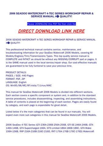 2006 seadoo watercraft 4 tec series workshop repair & service manual