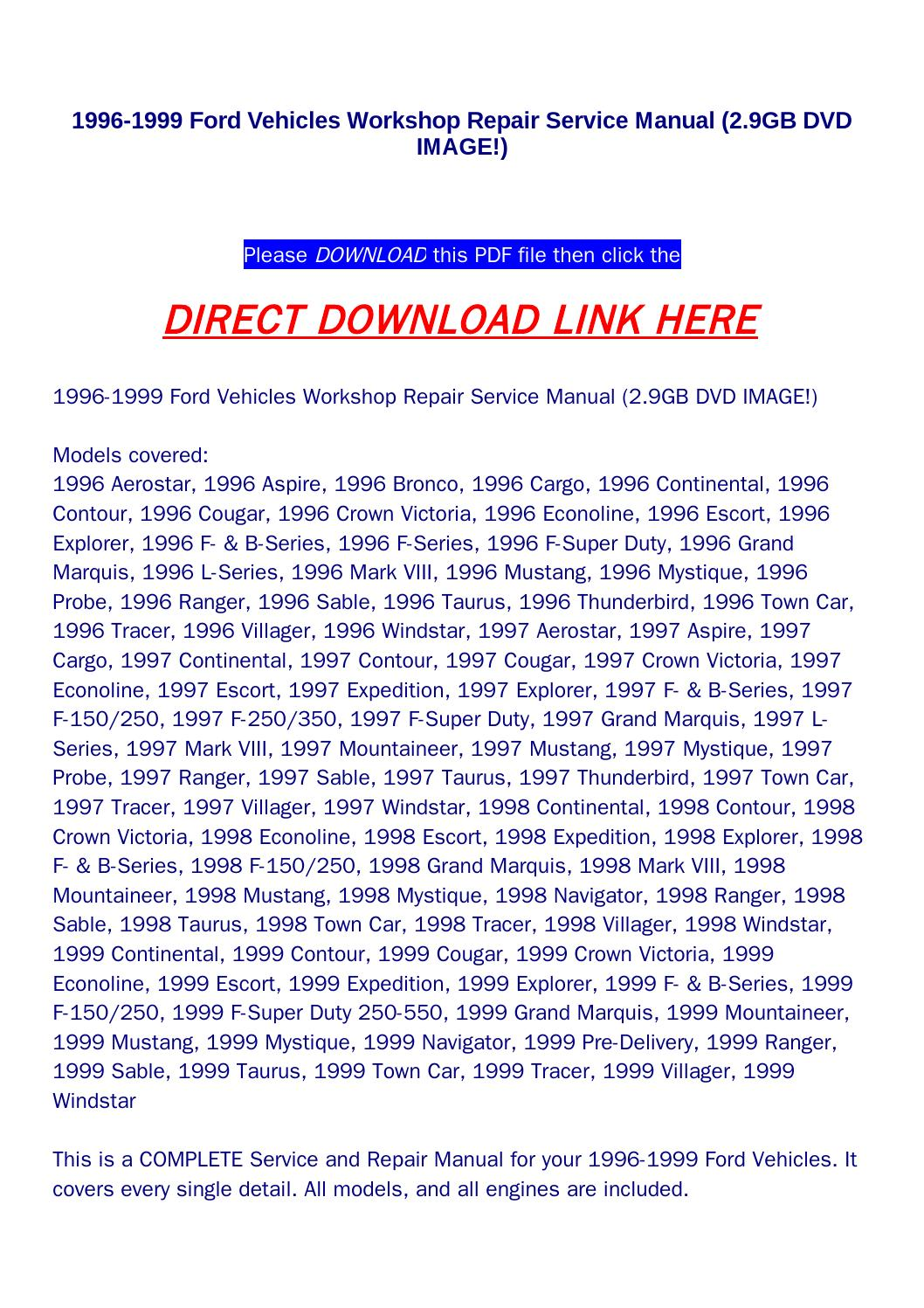 1996 1999 Ford Vehicles Workshop Repair Service Manual  2