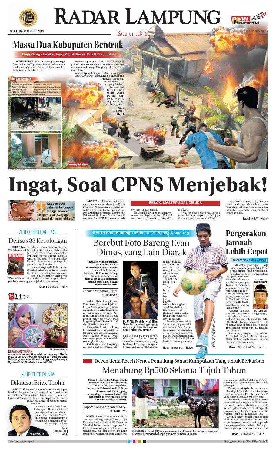 Radar Lampung Rabu 16 Oktober 2013 By Ayep Kancee Issuu Krezi Kamis 17 Bantal Leher Bulu C House