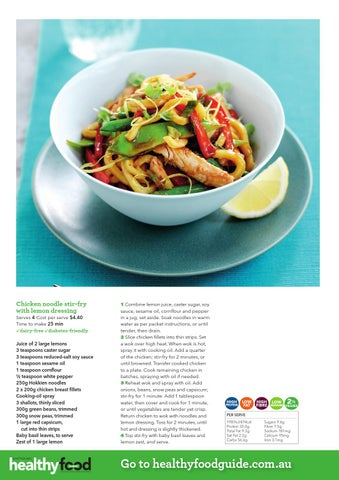 Healthy food guide all time favourite recipes by nextmedia pty ltd chicken noodle stir fry with lemon dressing serves 4 cost per serve 440 time to make 25 min forumfinder Gallery