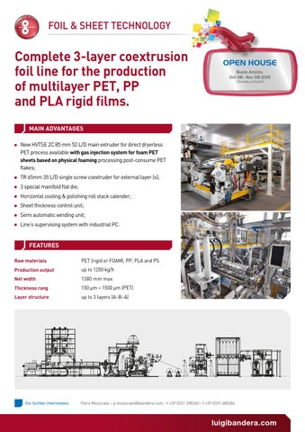 Complete 3-layer coextrusion foil line for the production of