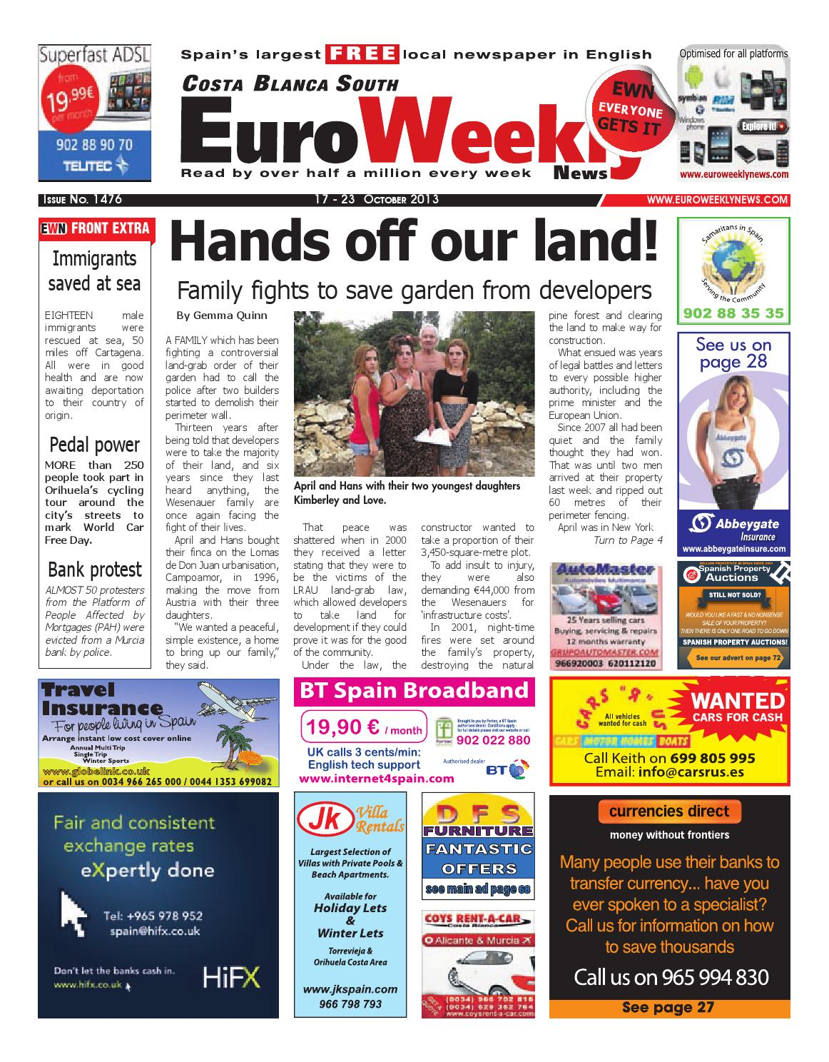 14a26f00112 Euro Weekly News - Costa Blanca South 17 - 23 October 2013 Issue 1476