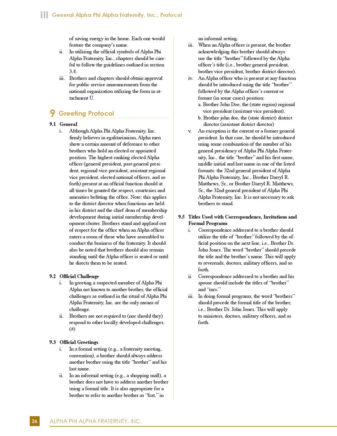 Alpha Protocol Etiquette Manual By Alpha Phi Alpha Fraternity Issuu