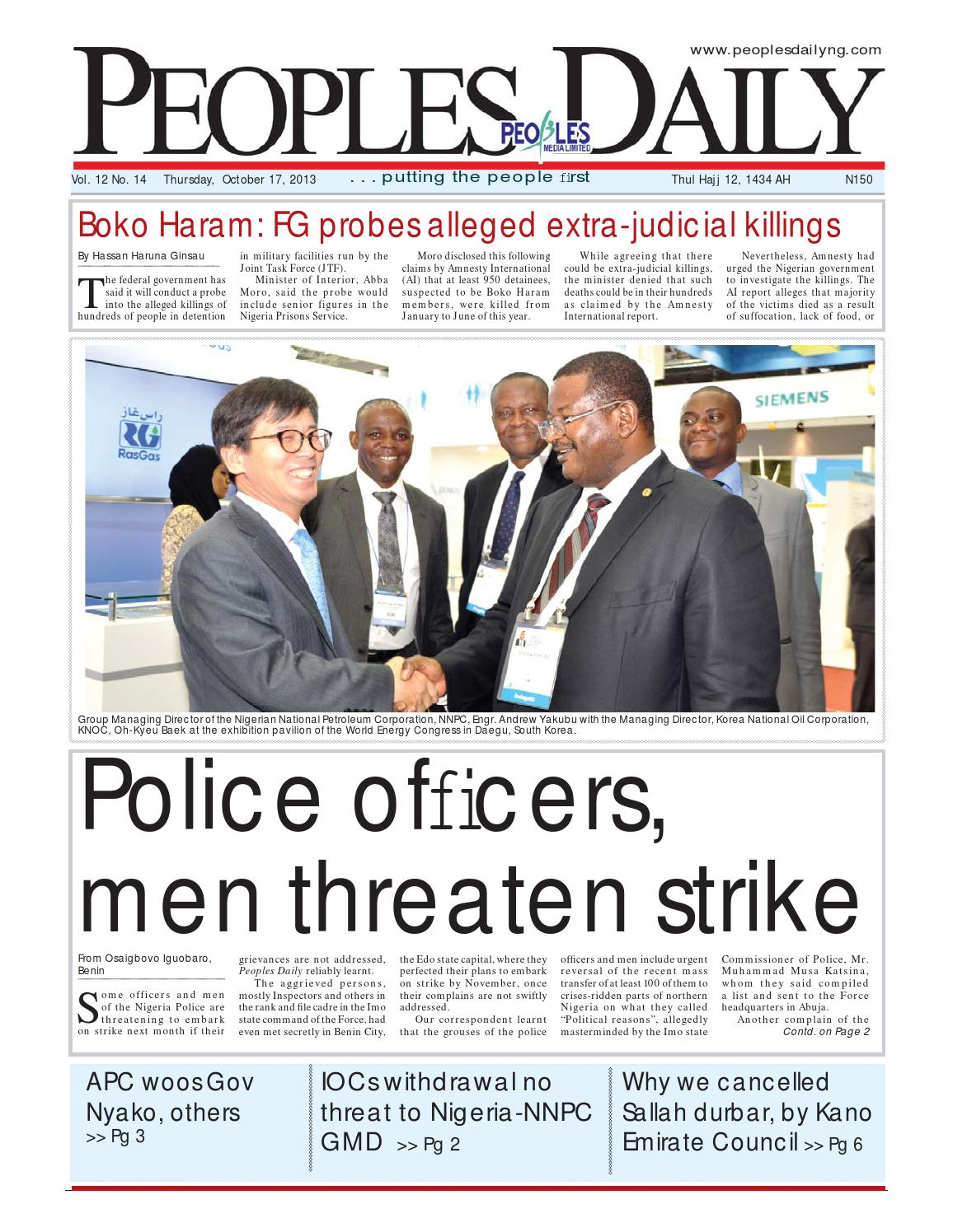 Peoples Daily Newspaper Thursday 17 October 2013 By Peoples Media