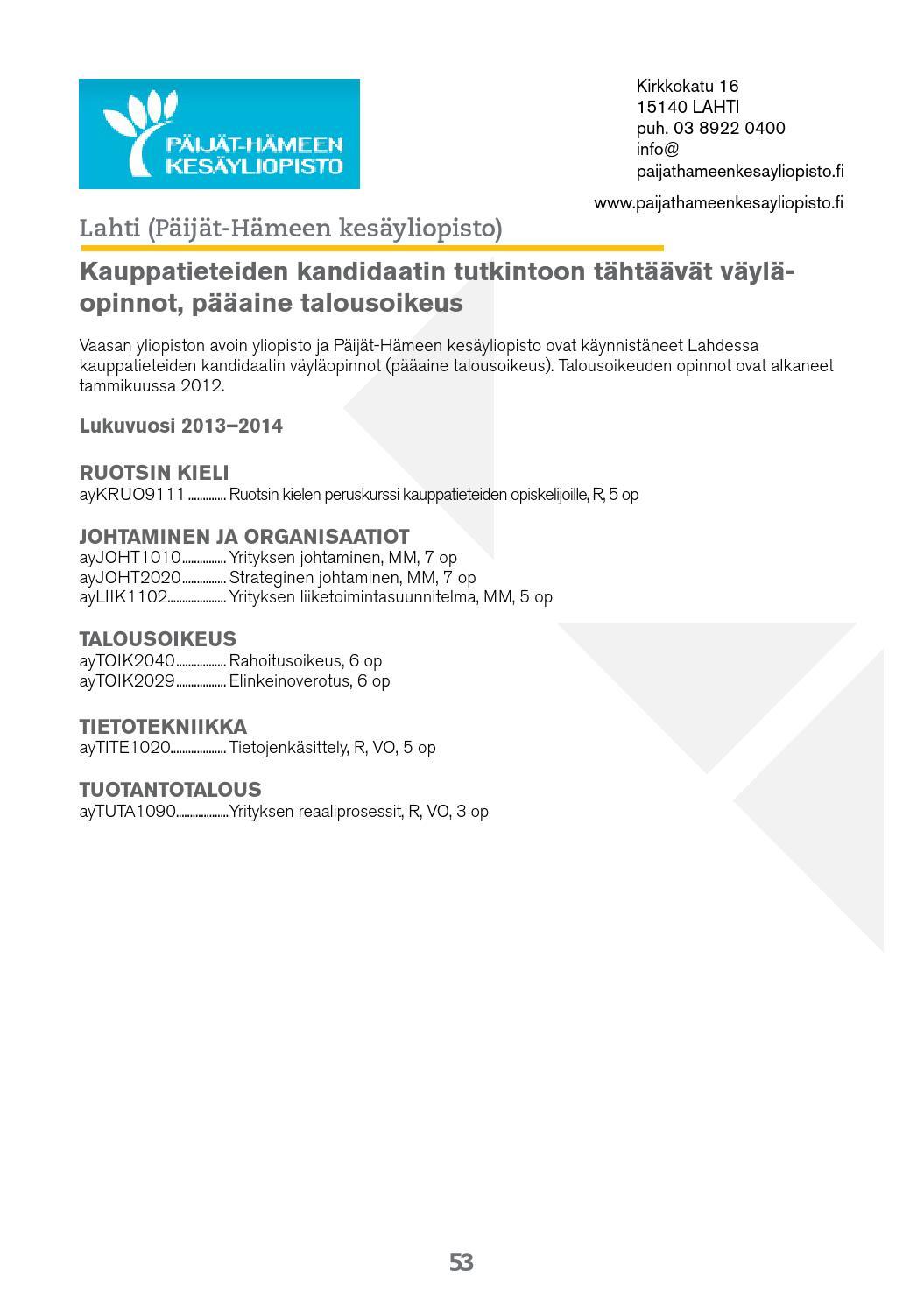 Vaasan Yliopisto Opinto-Opas