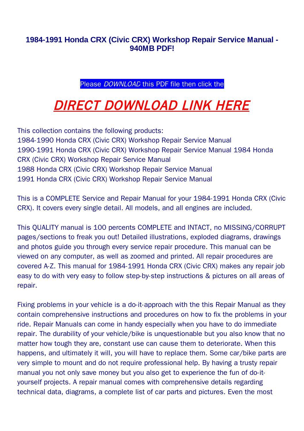 1984 1991 honda crx (civic crx) workshop repair service manual 940mb pdf!  by disrtrtog - issuu