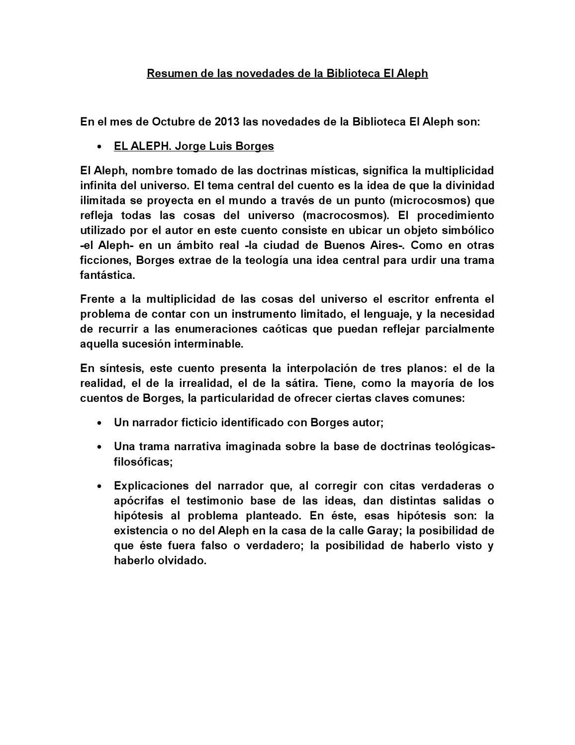 Resumen de las novedades de la biblioteca el aleph by Jorge De ...