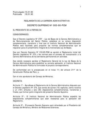 Decreto supremo nº 005 90 pcm reglamento d l nº 276 by SUTAF - issuu