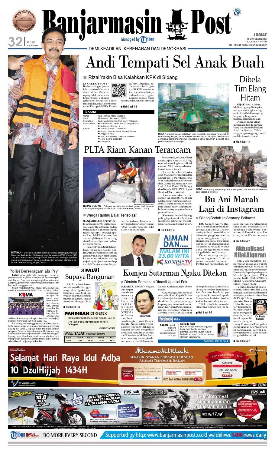 Banjarmasin Post Jumat 18 Oktober 2013 By Issuu Charger Warna Warni Merk Hasan Sj0048