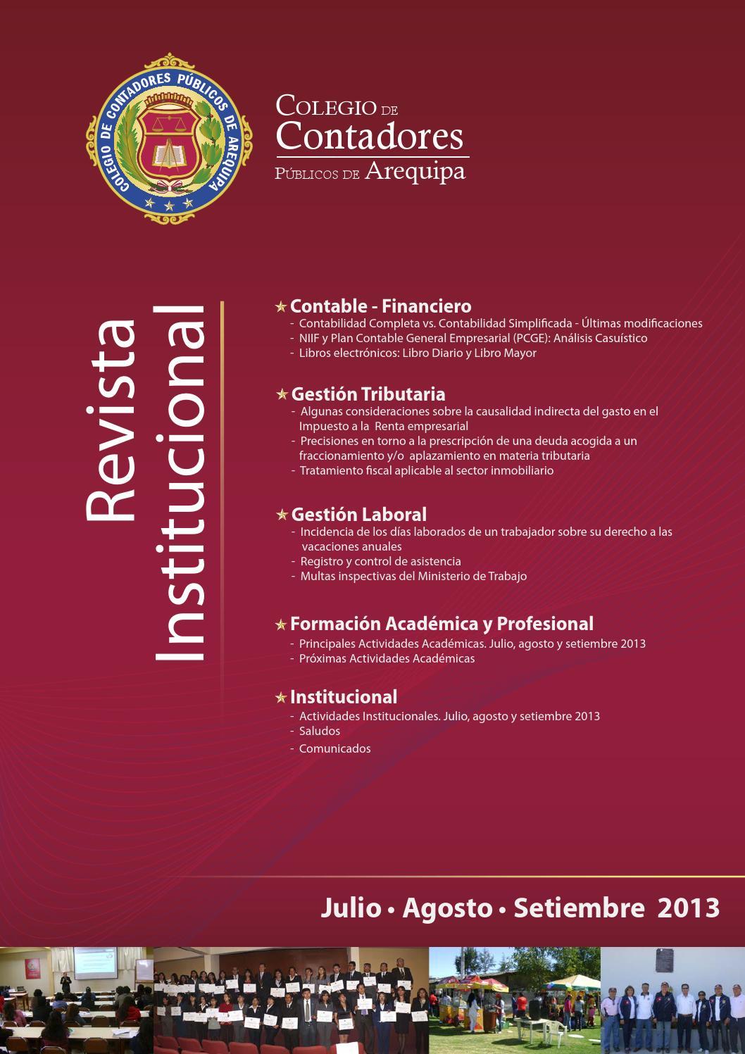 Julio, Agosto y Setiembre 2013 by Colegio de Contadores Públicos de ...