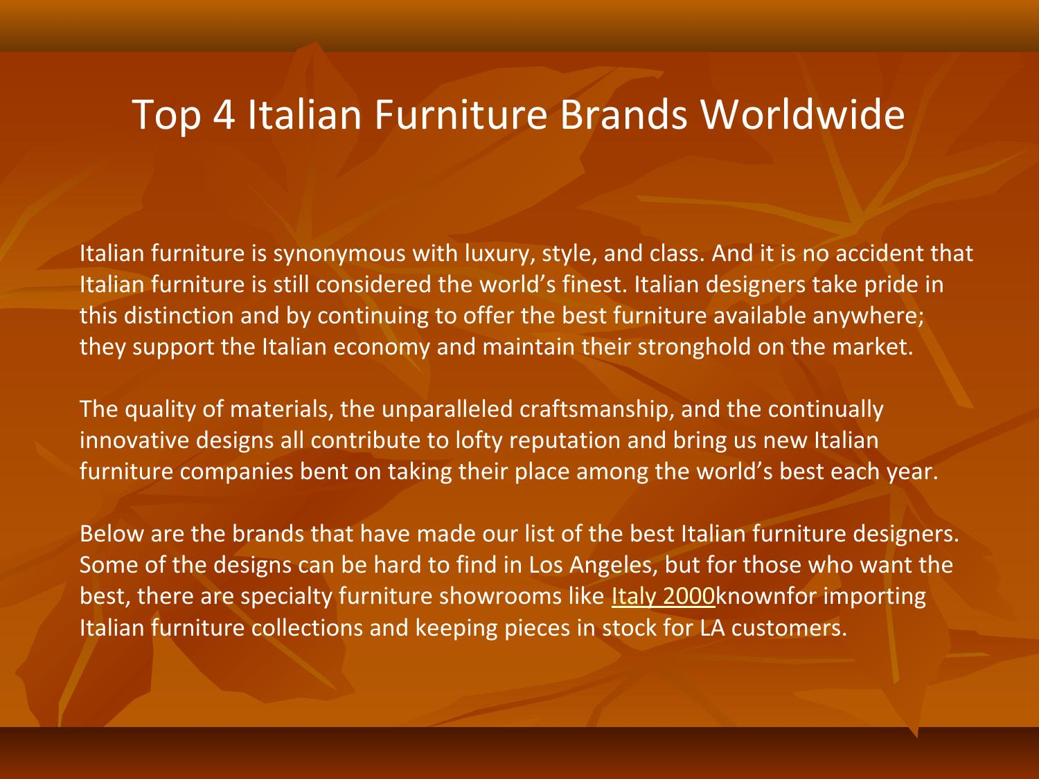 Top 4 Italian Furniture Brands Worldwide By Italy2000usa Issuu