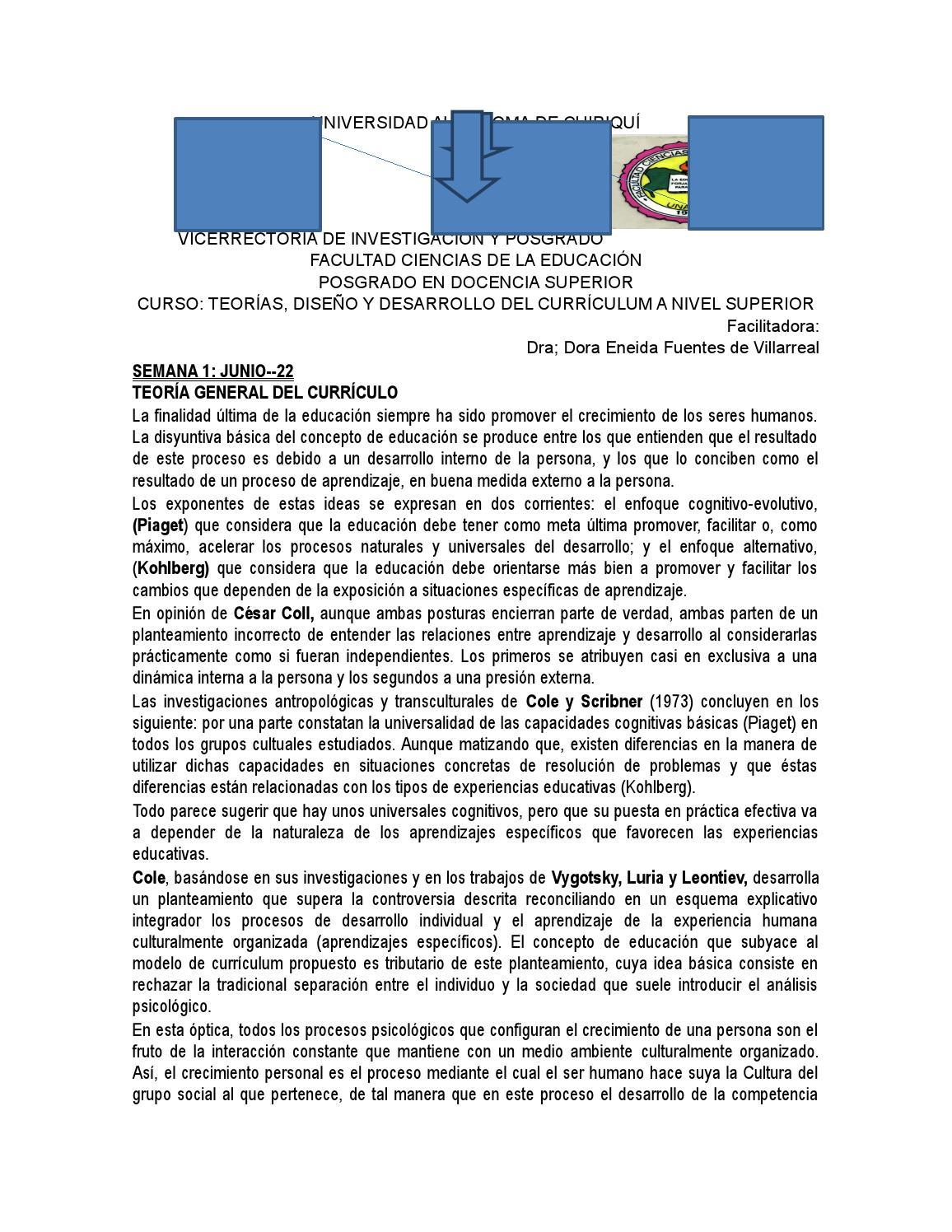 Teoría diseño desarrollo y ejecución del currículum by Dora Fuentes ...