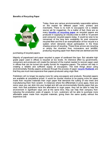 recycling benefits today Essay on recycling benefits today save the day don't  benefits of recycling recycling has been around for generations, sometimes in different forms,.